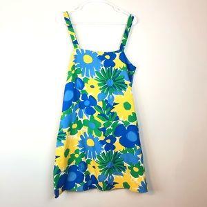 J. Crew Sunflower Tank Dress Green Blue Yellow 12